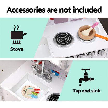 Keezi Kids Kitchen Set Pretend Play Food Sets Childrens Utensils Wooden White