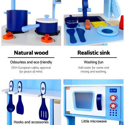 Keezi Kids Wooden Kitchen Play Set - Blue