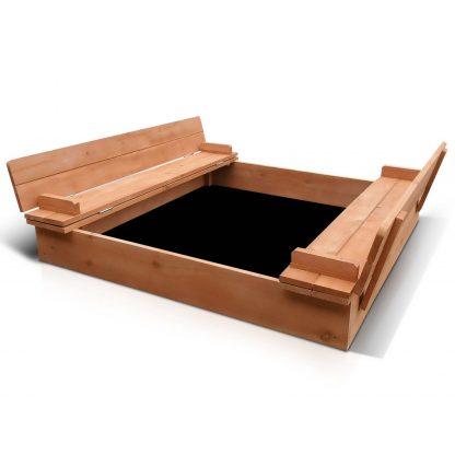 Keezi Wooden Outdoor Sandpit Set - Natural Wood