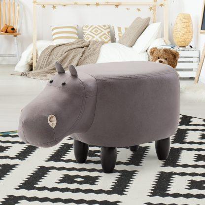 Keezi Kids Ottoman Foot Stool Toy Hippo Chair Pouffe Footstool Rest Fabric Seat