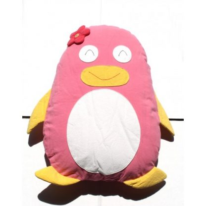 Penguin Cuddling Cushion Pink