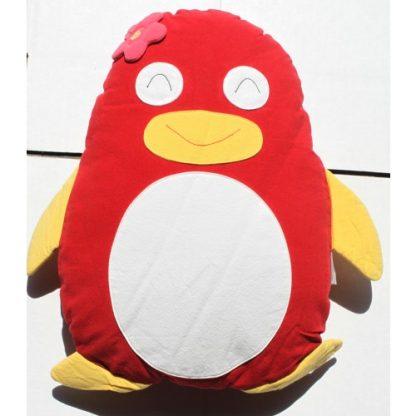 Penguin Cuddling Cushion Red