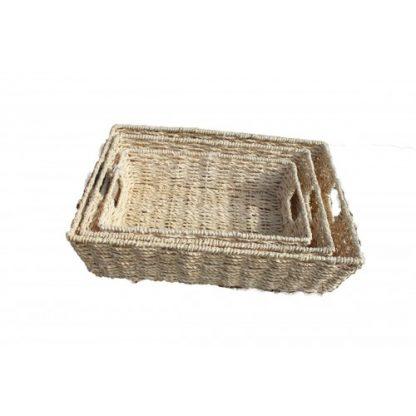Set Of 3 Rectangular Seagrass Baskets