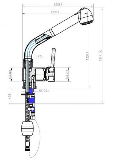 Kitchen Basin Mixer Tap Faucet w/Extendable Spray -Laundry