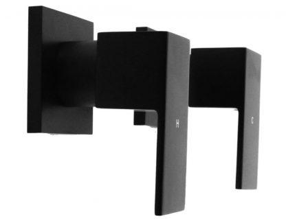 Chrome Bathroom Shower / Bath Mixer Tap Set Electroplated Matte Black Finish
