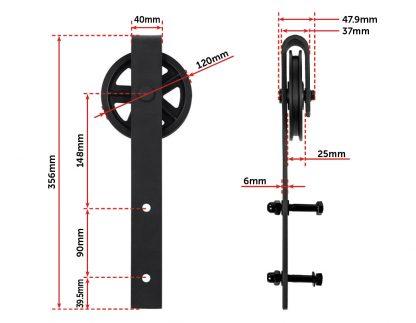 2M Big Spoke Wheel Sliding Barn Door Hardware