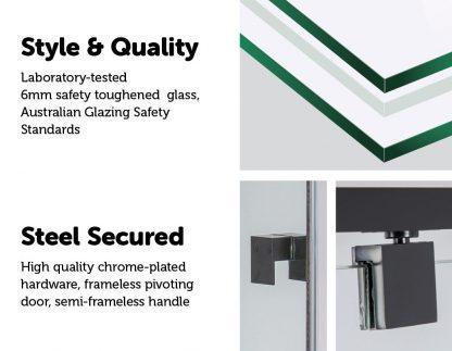 Adjustable Semi Frameless Shower Screen (114~122) x 195cm Australian Safety Glass