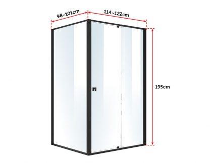 Semi Frameless Shower Screen (114~122)x 195cm & (98~101)x195cm Side AS/NZS Glass