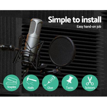 20pcs Studio Acoustic Foam Sound Absorption Proofing Panels 30x30cm Black Wedge