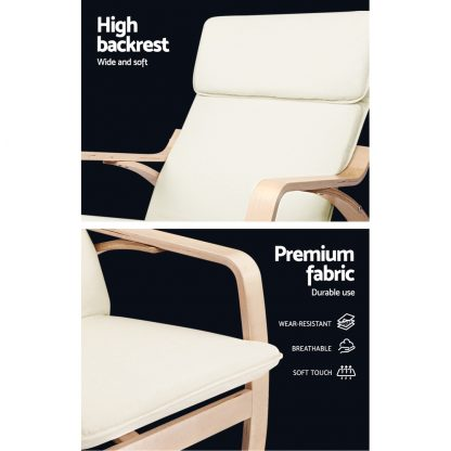 Artiss Fabric Rocking Armchair - Beige