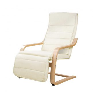 Artiss Fabric Armchair with Adjustable Footrest - Beige