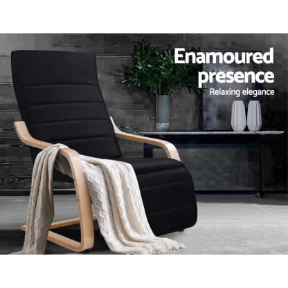 Artiss Fabric Armchair with Adjustable Footrest - Black