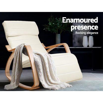 Artiss Fabric Rocking Armchair with Adjustable Footrest - Beige