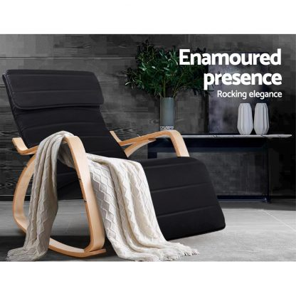 Artiss Fabric Rocking Armchair with Adjustable Footrest - Black