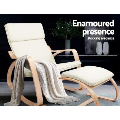 Artiss Wooden Armchair with Foot Stool - Beige