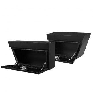 Giantz Black Under Tray Tool Box Pair Set Ute Steel Toolbox Trailer Underbody