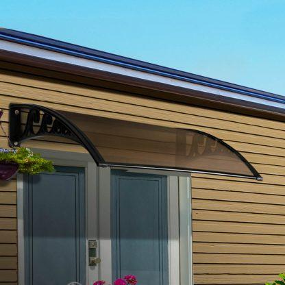 Instahut DIY Window Door Awning Brown 1 x 1M