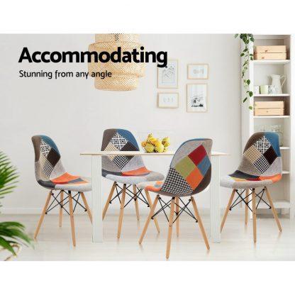 Artiss Set of 4 Retro Beech Fabric Dining Chair - Multi Colour