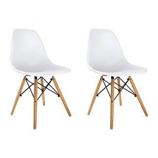 Artiss Set of 2 Retro Beech Wood Dining Chair - White