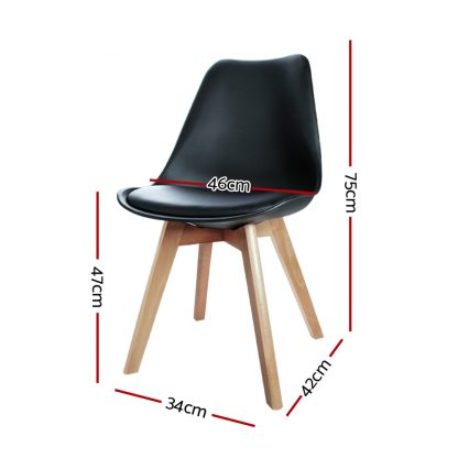 Artiss Set of 2 Padded Dining Chair - Black