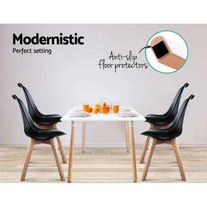 Artiss Set of 4 Padded Dining Chair - Black