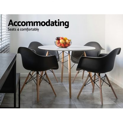 Artiss Round Dining Table 4 Seater 90cm White Replica Eames DSW Cafe Kitchen Retro Timber Wood MDF Tables