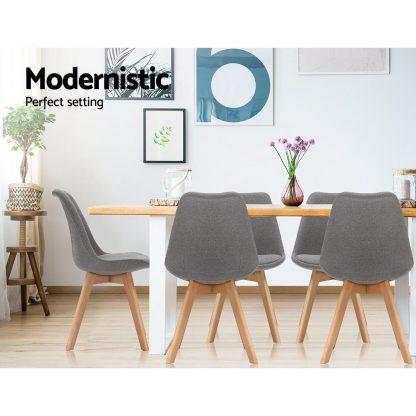 Artiss Set of 2 Retro Beech Fabric Dining Chair - Light Grey