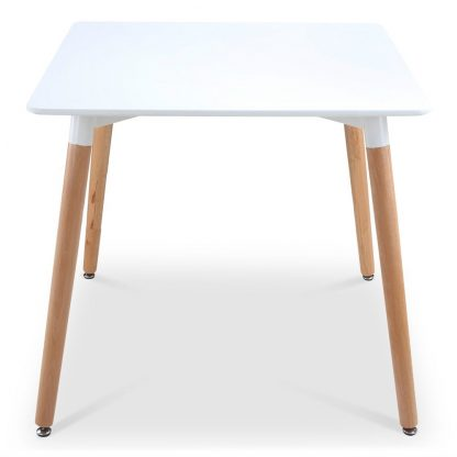 Artiss Square Dining Table 4 Seater 80cm White Replica Eames DSW Cafe Kitchen Retro Timber Wood MDF Tables