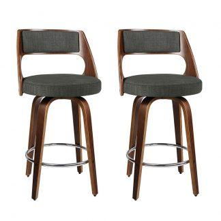 2 x Artiss Wooden Swivel Bar Stools Kitchen Counter Barstool Charcoal Fabric