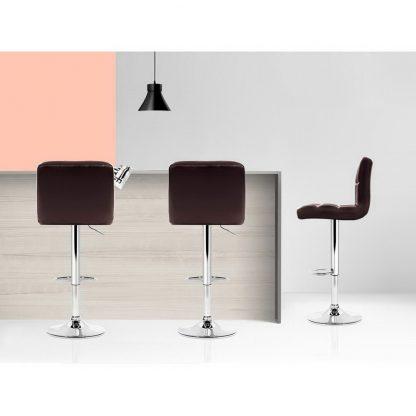 Artiss 2x Gas Lift Bar Stools Swivel Chairs Leather Chrome Chocolate
