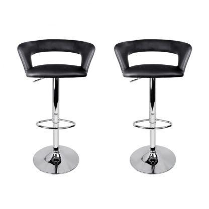 Artiss 2x Gas Lift Bar Stools Swivel Chairs Leather Chrome Black