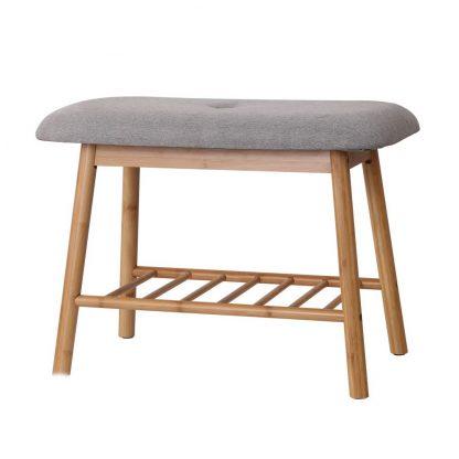 Artiss Shoe Rack Seat Bench Chair Shelf Organisers Bamboo Grey