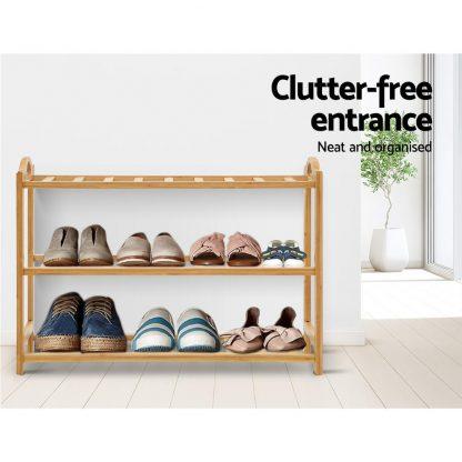 Artiss 3 Tiers Bamboo Shoe Rack Storage Organiser Wooden Shelf Stand Shelves
