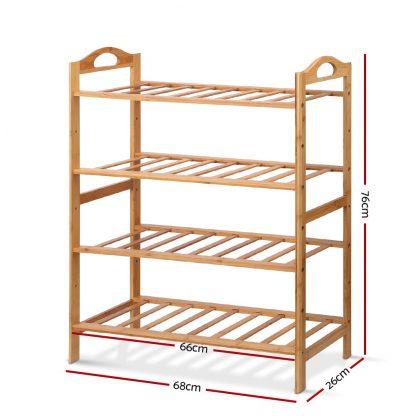 Artiss Bamboo Shoe Rack Organiser Wooden Stand Shelf 4 Tiers Shelves