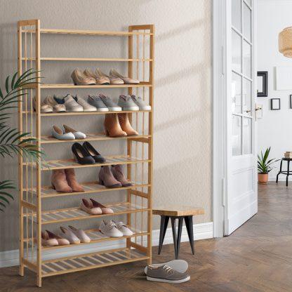 Artiss 10-Tier Bamboo Shoe Rack Wooden Shelf Stand Storage Organizer