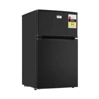 Devanti 84L Bar Fridge 2 Door Built-in Light Beverage Cooler Drink Black Fridges