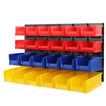 24 Bin Wall Mounted Rack Storage Tools Steel Board Organiser Work Bench Garage