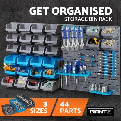 Giantz 44 Bin Wall Mounted Rack Storage Organiser