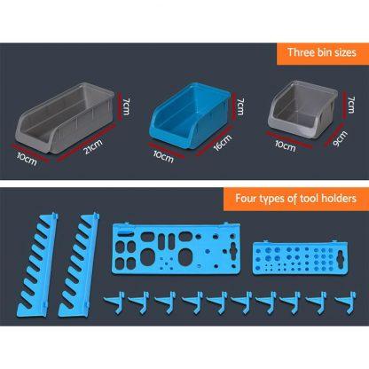 Giantz 88 Parts Wall-Mounted Storage Bin Rack Tool Garage Shelving Organiser Box