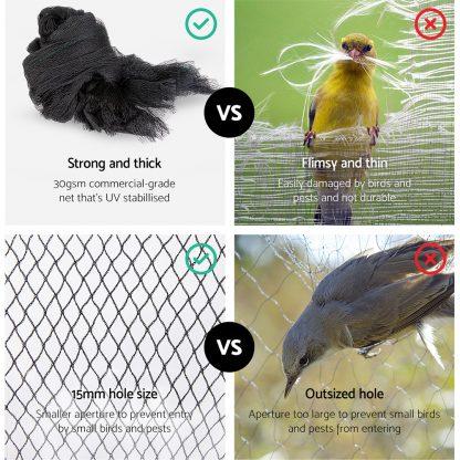Instahut 5 x 10m Anti Bird Net Netting - Black