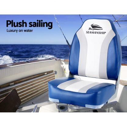 Seamanship 2X Folding Boat Seats Seat Marine Seating Set All Weather Swivels