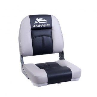 Seamanship 2X Folding Boat Seats Seat Marine Seating Set Swivels All Weather Charcoal & Grey