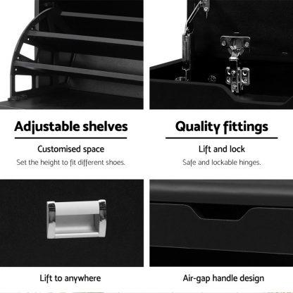 Artiss 3 Tier Shoe Cabinet Storage Stool Black