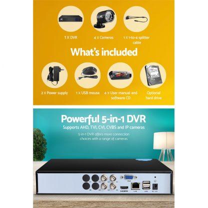 UL-Tech CCTV Security System 2TB 4CH DVR 1080P 4 Camera Sets