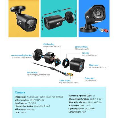 UL-TECH 4CH 5 IN 1 DVR CCTV Security System Video Recorder 4 Cameras 1080P HDMI Black
