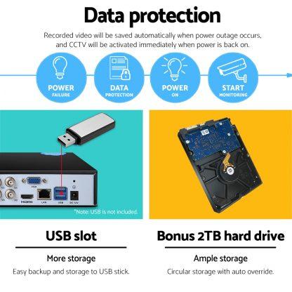 UL-Tech CCTV Security System 2TB 8CH DVR 1080P 4 Camera Sets