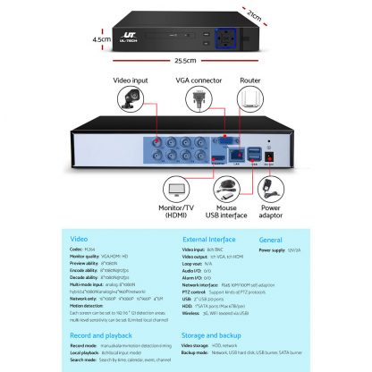 UL-tech CCTV Camera Home Security System 8CH DVR 1080P Cameras Outdoor Day Night