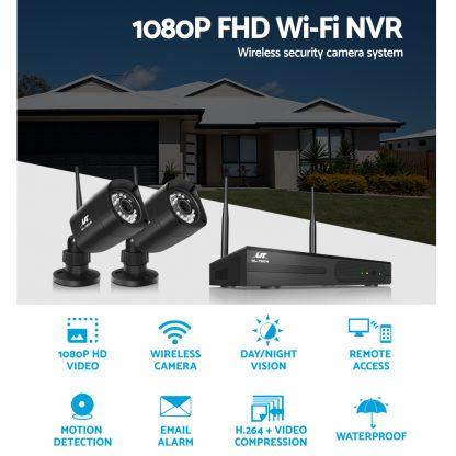 UL-TECH 1080P 8CH NVR Wireless 4 Security Cameras Set
