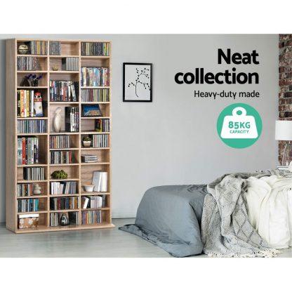 Artiss 528 DVD 1116 CD Storage Shelf Media Rack Stand Cupboard Book Unit Oak