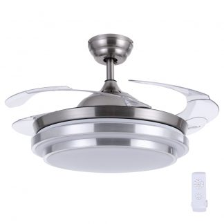 """42"""" Ceiling Fan Lamp LED Light Retractable Blade Ceiling Fan with Remote"""